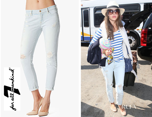 Alessandra Ambrosio's 7 For All Mankind Josefina Skinny Distressed Light Boyfriend Jeans  (