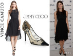 Alexandra Daddario's Vince Camuto Chiffon Dress And Jimmy Choo 'Amika' Pumps