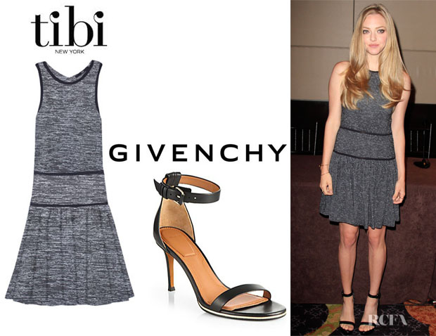 Amanda Seyfried's Tibi Space Dyed Flirty Dress And Givenchy Sandals