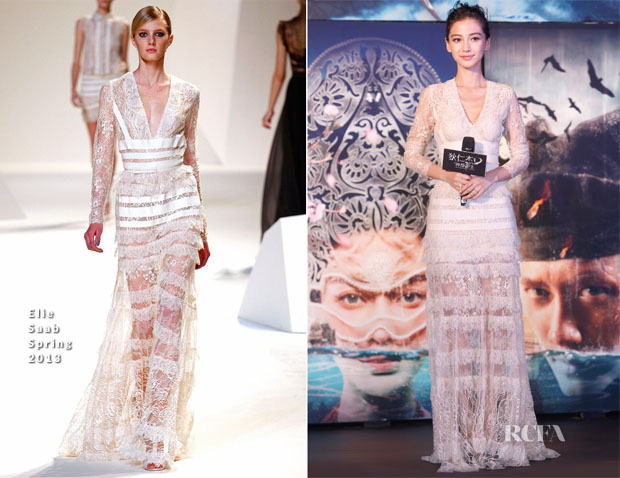 Angelababy In Elie Saab - 'Young Detective Dee Rise of the Sea Dragon' Press Conference