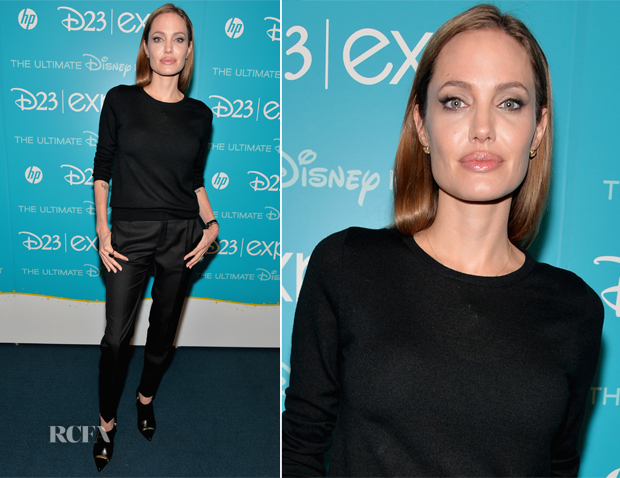 Angelina Jolie In Saint Laurent - Disney's D23 Expo - 'Let the Adventures Begin Live Action at The Walt Disney Studios' Presentation