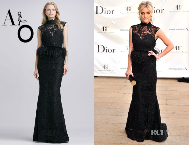 Ashlee Simpson's Alice + Olivia Jessica Beaded Feather-Peplum Gown