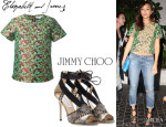 Ashley Madekwe's Elizabeth And James Floral Top And Jimmy Choo Snakeskin Stiletto Sandals