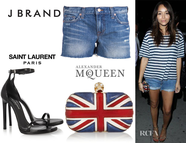 Ashley Madekwe's J Brand 'Libra' Shorts, Saint Laurent 'Jane' Sandals And Alexander McQueen 'Britannia' Clutch