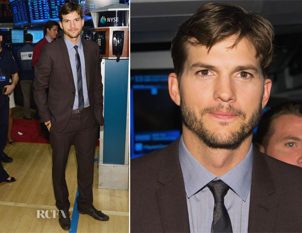 Ashton Kutcher Rings NYSE Opening Bell In Burberry