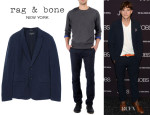 Ashton Kutcher's Rag & Bone 'Phillips' Blazer And Rag & Bone 'Blade IV' Trousers