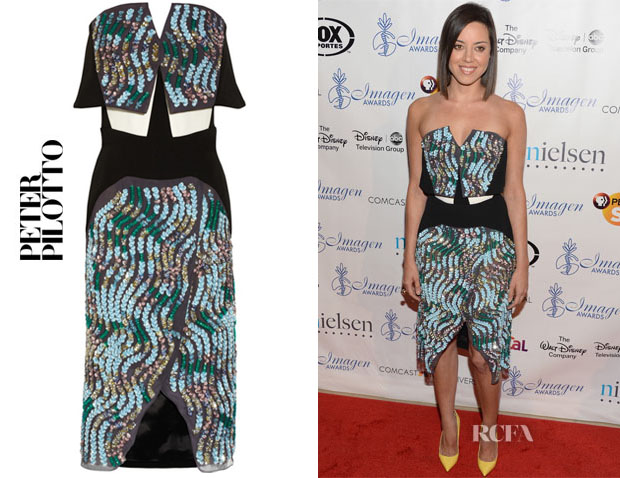 Aubrey Plaza's Peter Pilotto Wave sequined silk-blend crepe and chiffon dress