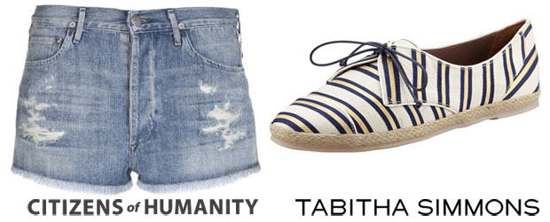 Beyonce Knowles' Citizens of Humanity 'Chloe' Distressed Shorts & Tabitha Simmons Tie-Striped Flat Espadrille Sneaker