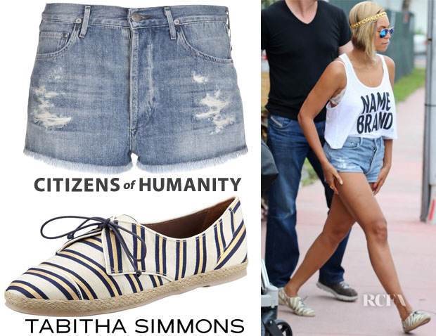 Beyonce Knowles' Citizens of Humanity 'Chloe' Distressed Shorts & Tabitha Simmons Tie-Striped Flat Espadrille Sneakers