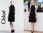 Carey Mulligan's Chloé Belted Snap-Strap Racerback Dress