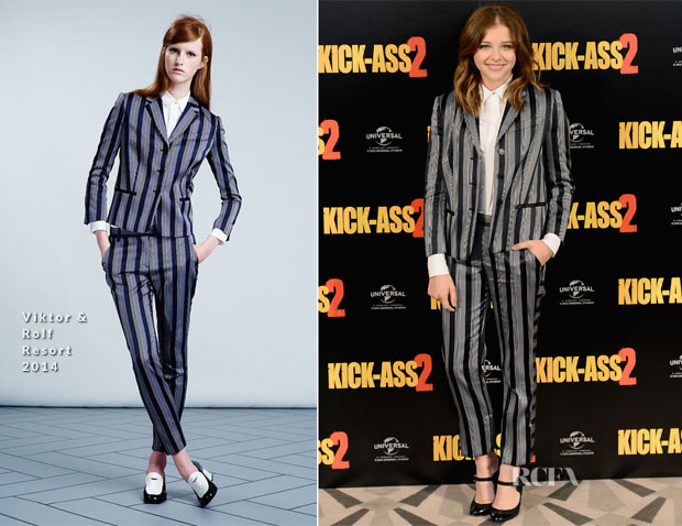 Chloe Mortez In Viktor & Rolf - 'Kick Ass 2' London Photocall