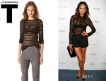 Chrissy Teigen's T by Alexander Wang Shadow Stripe Long Sleeve Tee
