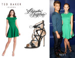 Claudia Lee's Ted Baker London 'Tezz' Stretch Skater Dress And Alejandro Ingelmo 'Boomerang' Sandals