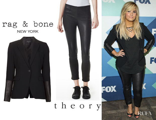 Demi Lovato's Rag & Bone 'Timeless' Blazer And Theory 'Belisa' Leather Pants