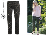 Elle Fanning's Isabel Marant 'Duncan' Embellished Leather Trousers