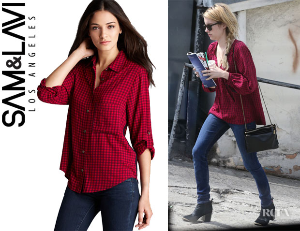 Emma Roberts' Sam & Lavi 'Tobin Bibi' Check Button Down Shirt