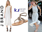 Emma Watson's J Brand Gwyneth White Dress & K. Jacques Papyrus Ankle-Strap Thong Sandals
