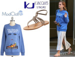 Emma Watson's Novel Tee Sweatshirt And K. Jacques 'Papyrus' Sandals