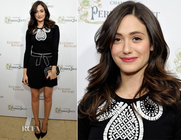 Emmy Rossum In Moschino Cheap and Chic & RED Valentino -  'Kitchen Revelry' Cookbook Release Party