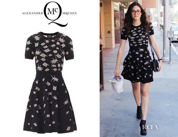 Emmy Rossum's McQ Alexander McQueen 'Bug' Intarsia Knit Dress1