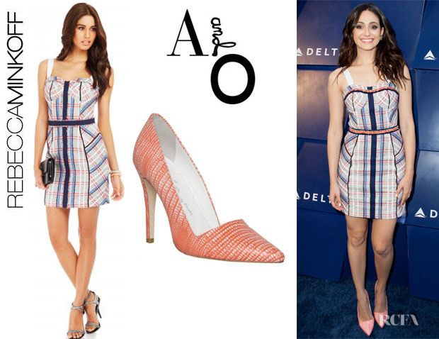 Emmy Rossum's Rebecca Minkoff 'Clara' Dress And Alice + Olivia 'Dina' Pumps