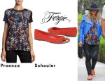 Fergie's Proenza Schouler People Print Tee And Fergie 'Brio Too' Flats