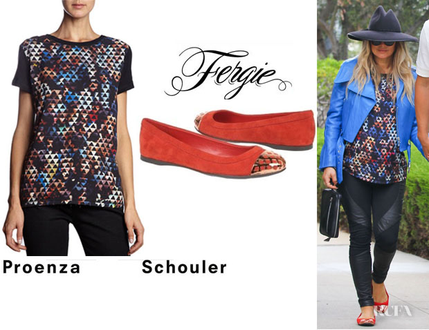 Fergie's Proenza Schouler People Print Short Sleeve Tee And Fergie 'Brio Too' Flats