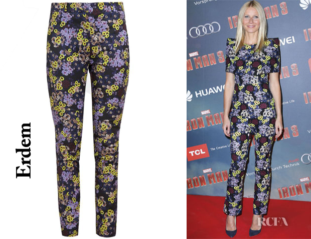 Gwyneth Paltrow' Erdem Floral Printed Cotton-Blend Trousers