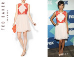 Hannah Simone's Ted Baker Mixed Media Fit & Flare Dress