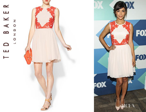 Hannah Simone's Ted Baker Mixed Media Fit & Flare Dress1