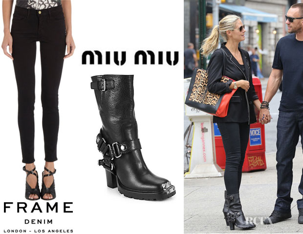 Heidi Klum's Frame Denim 'Le Luxe Noir' Skinny Jeans And Miu Miu Leather Motorcycle Boots