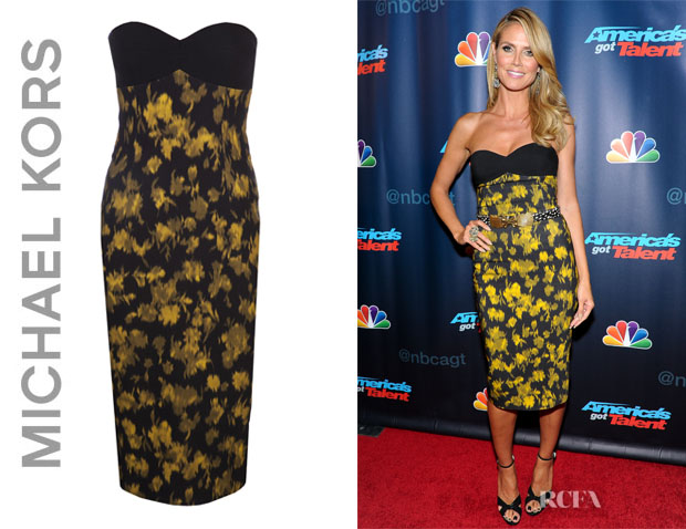 Heidi Klum's Michael Kors Strapless Leaf Print Dress