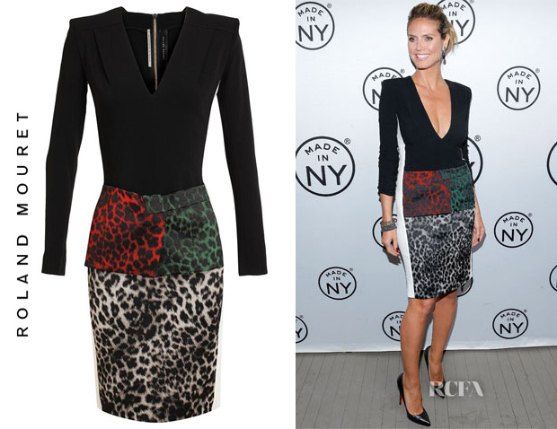 Heidi Klum's Roland Mouret Stretch Crepe Leopard Dress