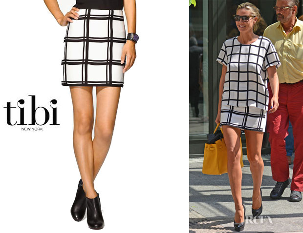 Heidi Klum's Tibi Checkered Border Mini Skirt