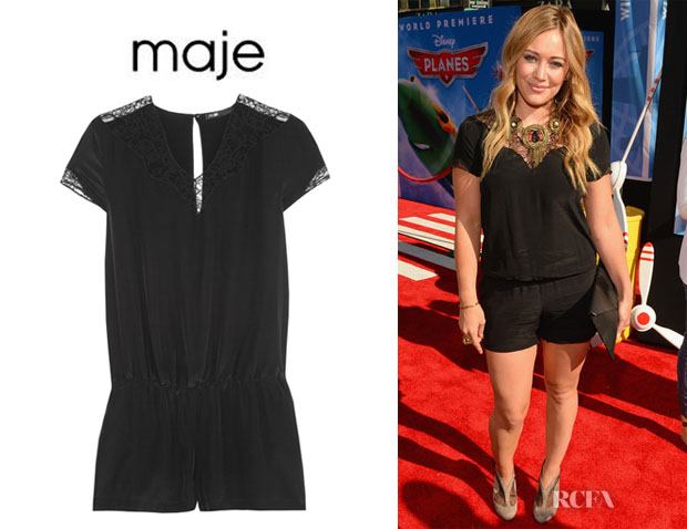 Hilary Duff's Maje Lace-Trimmed Silk Playsuit