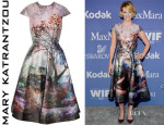 January Jones' Mary Katrantzou Babelonia Metallic Jacquard Dress
