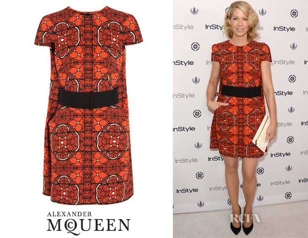 Jenna Elfman's Alexander McQueen Stained Glass Printed Wool Dress