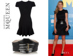 Jennifer Aniston's Alexander McQueen Peplum Dress And Alexander McQueen Corset Triple-Buckled Waist Belt