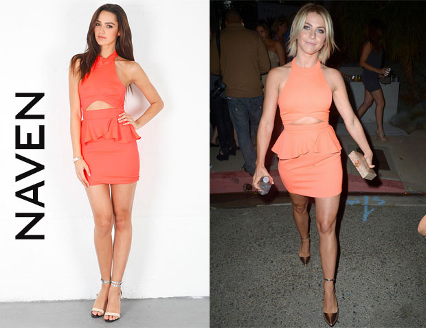 Julianne Hough's Naven Bardot Neon Peach Dress