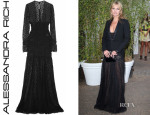 Kate Moss' Alessandra Rich Ruched Leopard-Lace Gown