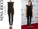Keri Russell's Nina Ricci Lace And Silk Top And Nina Ricci Lace Trimmed Skinny Trousers