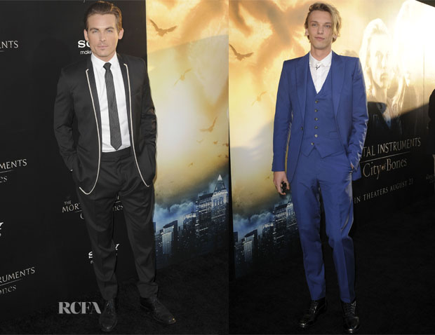 Kevin Zegers In Dior Homme & Jamie Campbell Bower In Alexander McQueen  - 'The Mortal Instruments City Of Bones' LA Premiere
