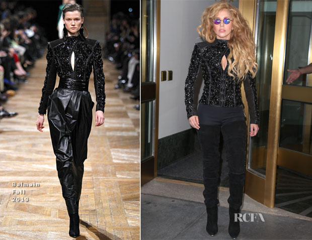 Lady Gaga In Balmain - Out In New York