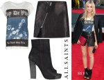 Laura Whitmore's AllSaints Virtue Boyfriend T-Shirt, Mini Split Lucille Skirt & Manifest Boot