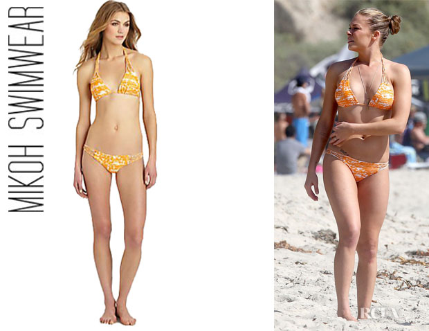 LeAnn Rimes' Mikoh Swimwear Coconuts Printed Triangle Bikini Top And Bikini Bottoms