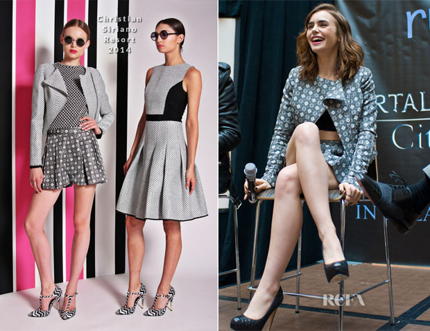 Lily Collins In Christian Siriano - 'Mortal Instruments City of Bones' Chicago Ridge Mall Meet & Greet