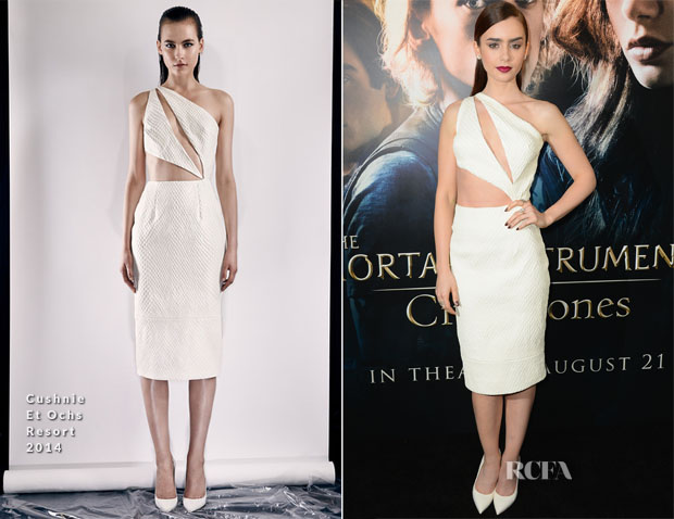 Lily Collins In Cushnie Et Ochs - 'The Mortal Instruments City of Bones' LA Premiere