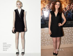 Lily Collins In McQ Alexander McQueen - 'The Mortal Instruments: City Of Bones' Oslo Photocall