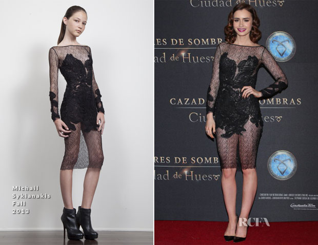 Lily Collins In Michail Sykianakis - 'The Mortal Instruments City of Bones' Mexico City Premiere