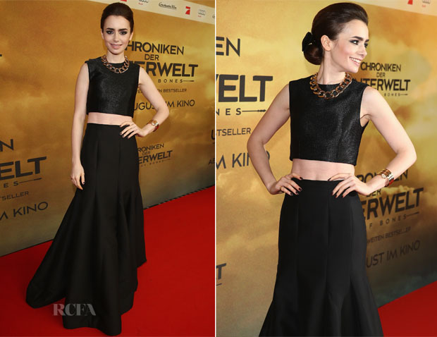 Lily Collins In Paper London and Halston Heritage - 'The Mortal Instruments  City of Bones' Berlin Premiere